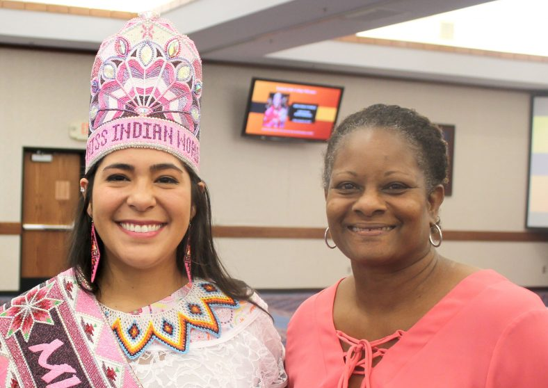 NASNTI Director Carol Parker (right) greets Miss Indian World Cheyenne Kippenberger (left) at a campus event on Sept. 20, 2019. The NASNTI program recently received a new grant focused on accessibility, computer science and Native American programming.