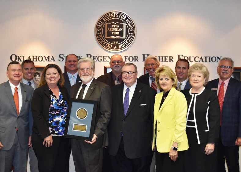 Pictured with Senator Thompson and Chancellor Glen Johnson (left to right) are Presidents Ron Ramming (Connors), Chad Wiginton (Western), Janet Wansick (Eastern), Jay Falkner (Carl Albert), Jack Bryant (Redlands), John Feaver (USAO), Jeanie Webb (Rose State), Kyle Stafford (NEO), Lana Reynolds (Seminole State College) and Clark Harris (Northern).