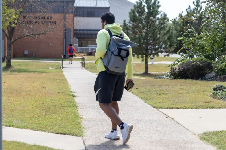 Students walk through the courtyard at Seminole State College.