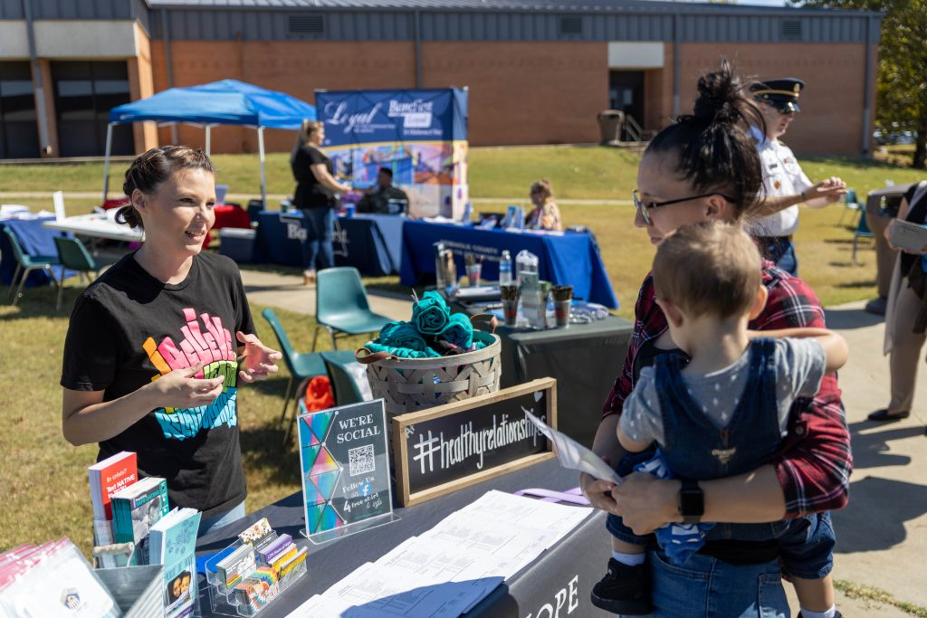 ollege student Carysa Danker, of Byng, during a Career and Resource Fair held on SSC's campus