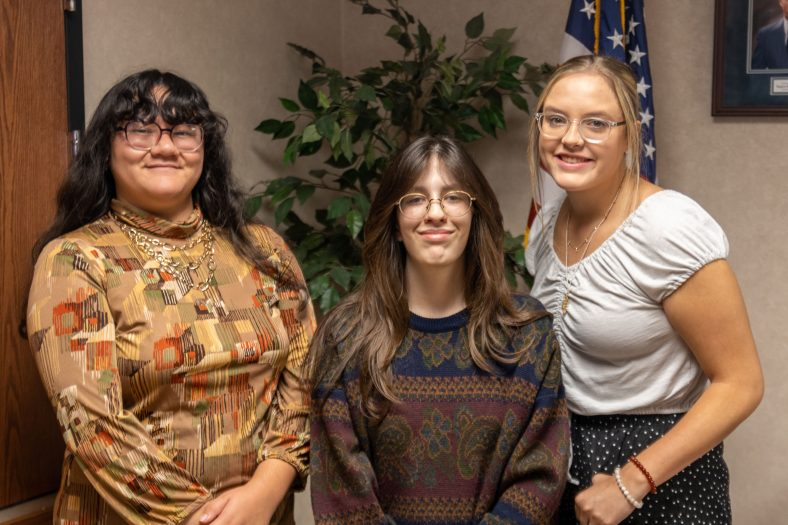 The Seminole State College Student Government Association has selected its officers for the 2020-2021 academic year. Pictured from left to right are Secretary Katelyn Nguyen, of Dustin; President Georgia Ledford, of Seminole; and Vice President Jenna Harrison, of Shawnee. The three officers were welcomed into their new roles at a luncheon on Oct. 11 with President Lana Reynolds.