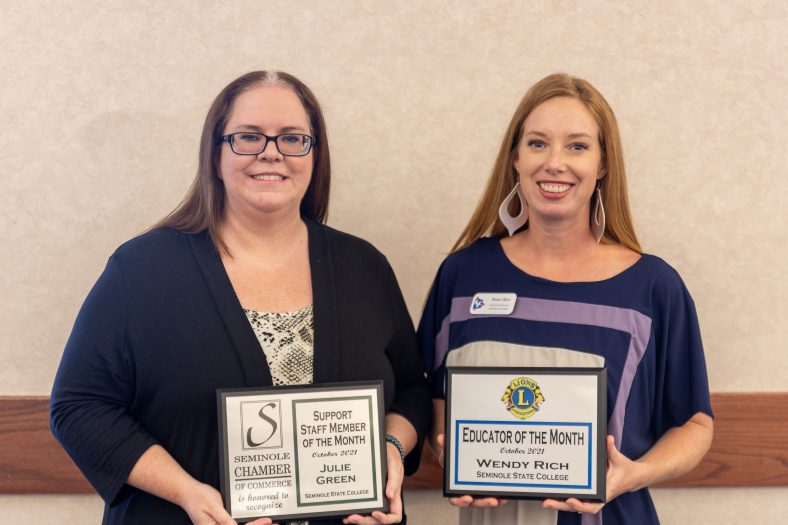 """Human Resources Associate Julie Green (left) was honored as the """"Staff Member of the Month"""" and Assistant Professor of Agriculture Wendy Rich (right) was honored as the """"Faculty Member of the Month"""" at the Seminole Chamber of Commerce Forum on Oct. 12"""