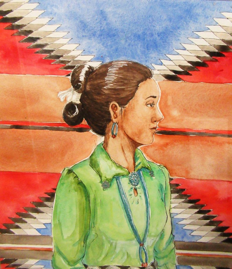 Painting of Navajo woman.