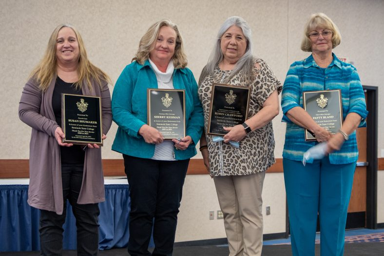Retirees honored at the event were (pictured l-r): Susan Shumaker, Sherry Keisman, Robin Crawford and Patty Bland.