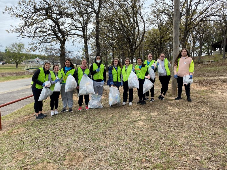 "As part of Earth Day appreciation, PLC students volunteered to pick-up trash in the community through the City of Seminole's ""Community Clean-Up"" efforts this week. The students collected trash near the Boomtown park area. Those pictured are (l-r): Kaitlyn Matlock of Lexington, Tiffany Maxey of Catoosa, Uriah McPerryman of Wetumka, Emily Dobbins of Broken Arrow, Cepado Wilkins of Shawnee, Kelsey Edminsten of Okemah, Kandyce Davidson, of Wewoka Jaycee Johnson of Paden, Sydney Winchester of Prague, Jenna Harrison of Shawnee and Connor Buchanan of Wewoka."