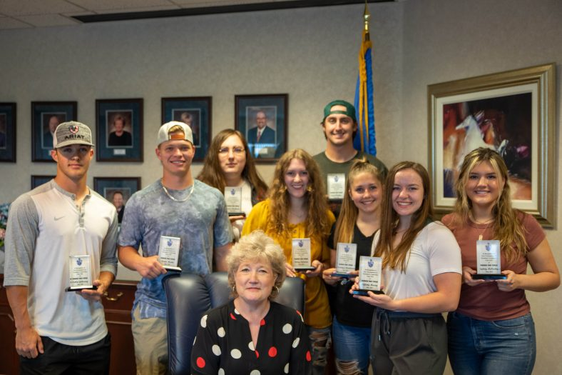Members pictured with SSC President Lana Reynolds (seated) are (l-r): Callen Golloway of Blanchard, Trevor Martin of Owasso, Connor Buchanan of Wewoka, Kelsey Edminsten of Okemah, Creed Watkins of Duncan, Kandyce Davidson of Wewoka, Tiffany Maxey of Catoosa and Sydney McClaskey of Maud.
